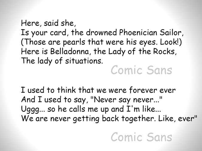 text comparison between Comic Sans and Baskerville
