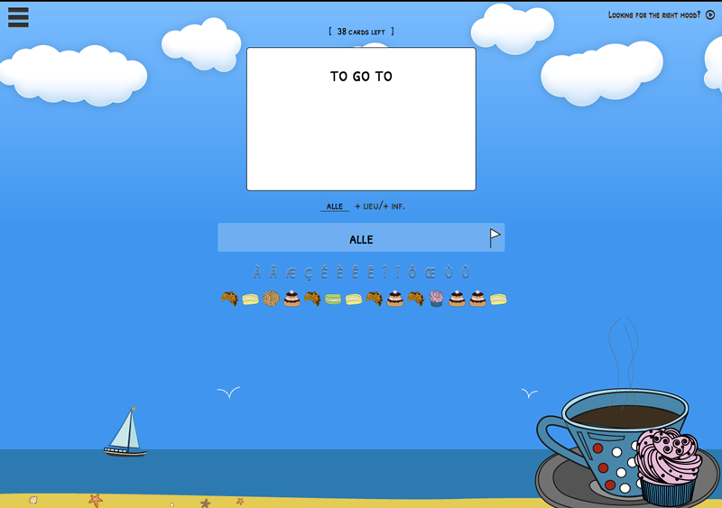 Image of online flashcard system, white flashcard against blue ocean-themed background