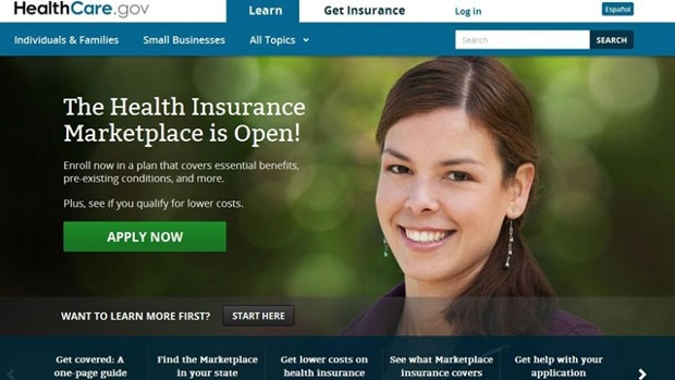 "Front page of ""old"" Obamacare Sign-up site."