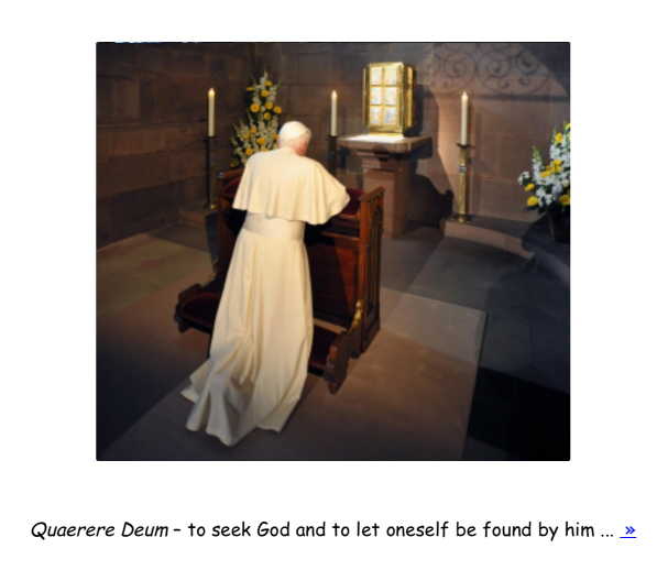 Pope prays, caption describes in Comic Sans