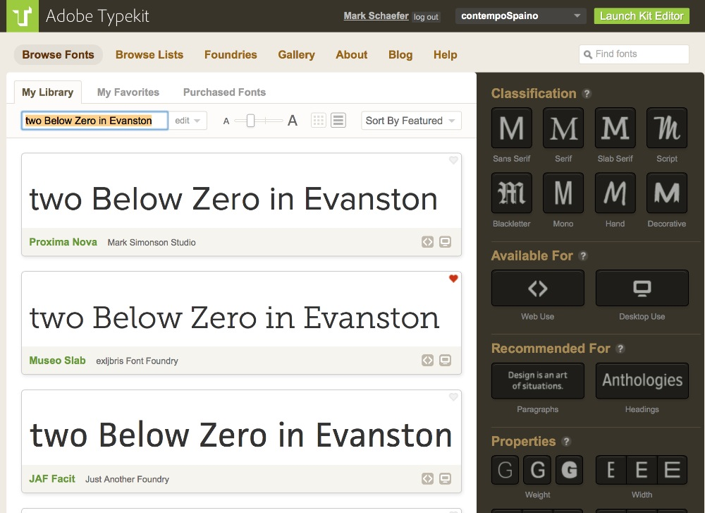 screen shot of typekit.com