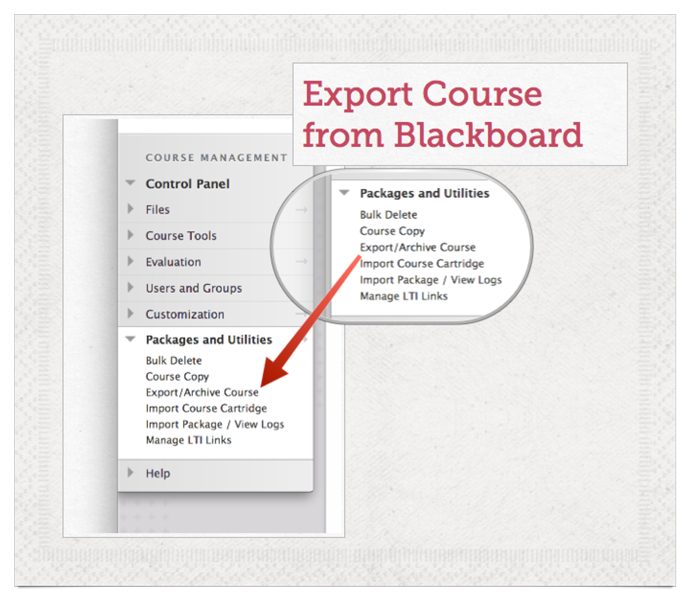 Export course materials from older courses from the Packages and Utilities menu in Blackboard