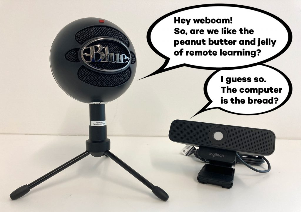 "A comic photo where a round microphone says to a webcam ""Hey webcam! So, are we like the peanut butter and jelly of remote learning?"" The webcam replies, ""I guess so. The computer is the bread?"""